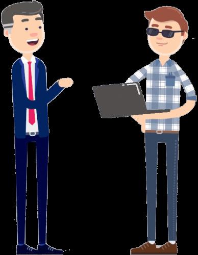 Zwei Personen sprechen über IT-Sicherheit Comic