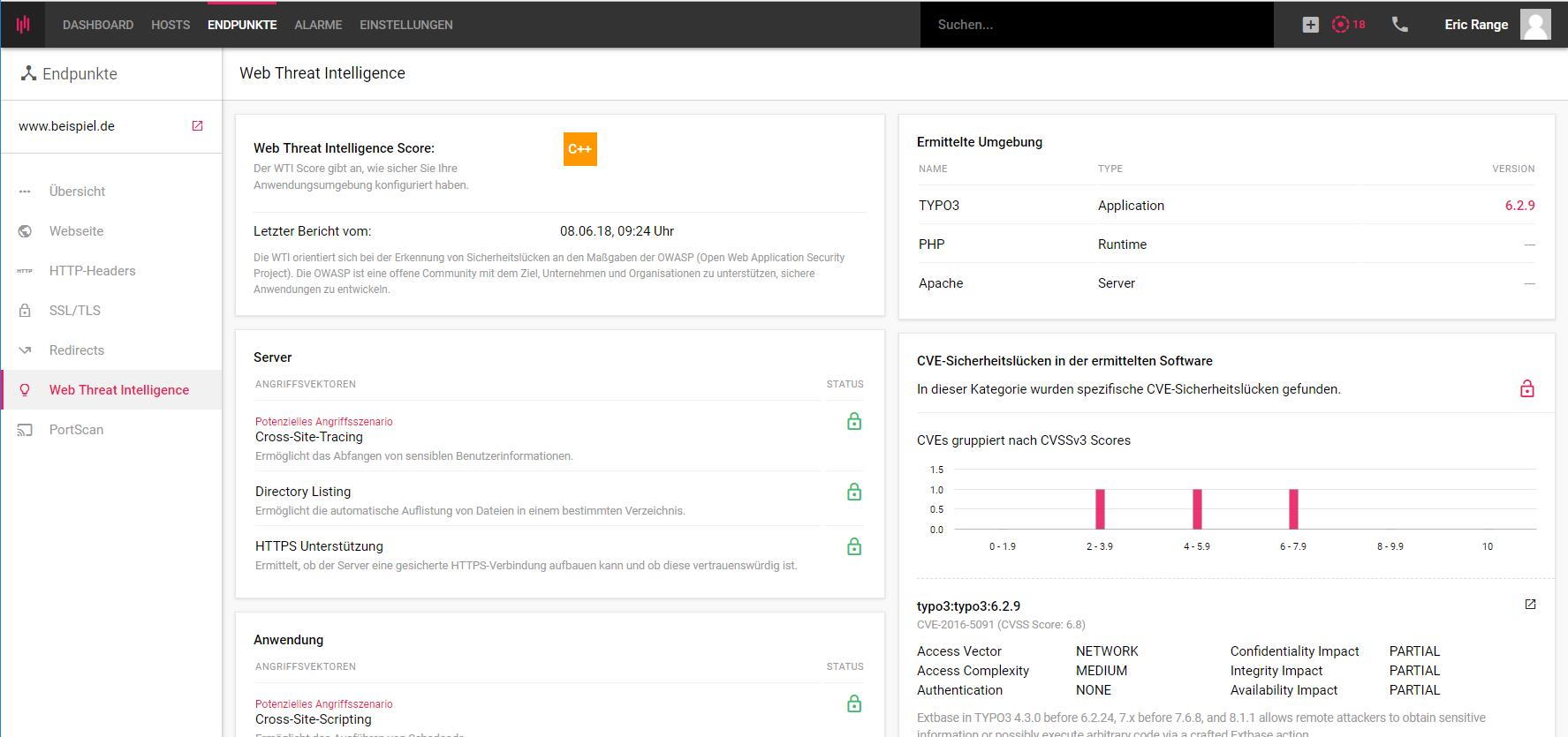 Web Threat Intelligence Monitoring für eine Webseite im Enginsight Tool