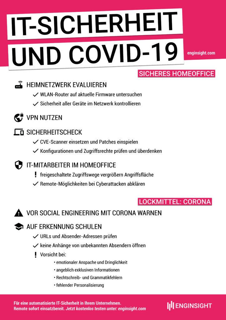 Die wichtigsten Informationen, worauf bei IT-Sicherheit im Zuge von COVID-19 zu achten ist, auf einen Blick.
